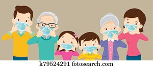 big family wearing a surgical mask to prevent virus covid-19 with copy space for banner