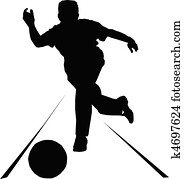 bowling sport vector silhouettes