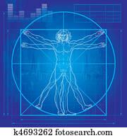 dass, vitruvian mann, (blueprint, version)