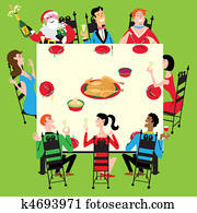 Holiday dinner with Santa