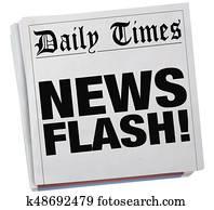 News Flash Newspaper Report Story Article Headlines 3d Illustration