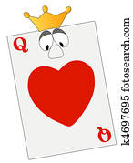 queen of hearts with google eyes