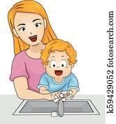 Toddler Boy Mom Wash Hands Illustration