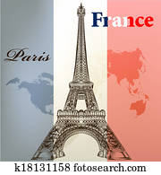 Art vector conceptual background with Eifel tower and France f