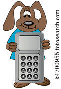 dog holding on to cell phone