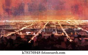 Night skyline of Los Angeles. Imitation of abstract oil painting
