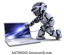 robot with computer and stethoscope