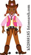 Vector Young Beautiful African American Cowgirl