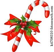 weihnachtsteller, krückstock, dekoriert, mit