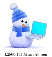 3d Snowman using a laptop