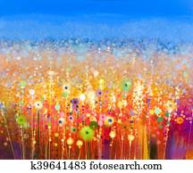 Abstract flower field watercolor painting.