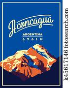 aconcagua, in, andes,, argentinien, au?enabenteuer, poster., hoher, berg, illustration.