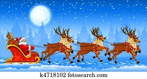 Christmas Santa Claus riding on sleigh