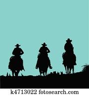 cowboy three vector silhouettes