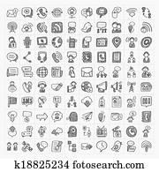 doodle communication icons set