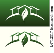 Green House Concept Icons Both Solid and Reversed