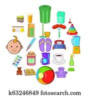 Home economics icons set, cartoon style