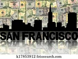 San Francisco skyline reflected with dollars illustration
