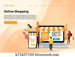 Vector template of online shopping concept. flat illustration vector