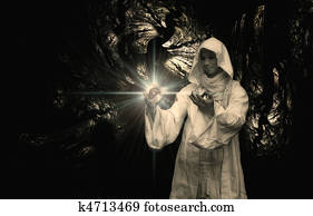Wizard into a crystal ball