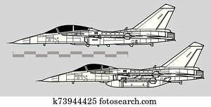 AIDC F-CK-1 Ching-kuo. Outline vector drawing