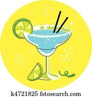 Blue Margarita cocktail on yellow