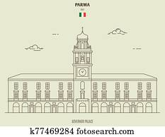 Governor Palace in Parma, Italy. Landmark icon