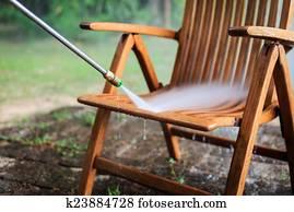 holz stuhl wasser stock photo bilder holz stuhl wasser lizenzfreie bilder und fotos von. Black Bedroom Furniture Sets. Home Design Ideas