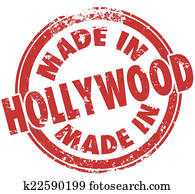 Made in Hollywood California Round Red Stamp Pride