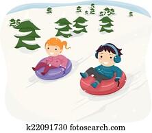 schnee, rohr, kinder