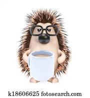 3d Hedgehog tea break