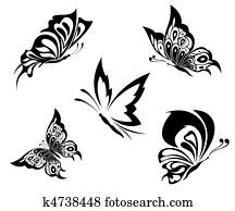 Black white butterflies of a tattoo