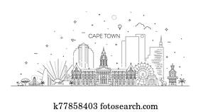 Cape Town architecture line skyline illustration