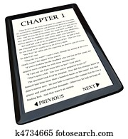 E-Book Reader with Novel on Screen