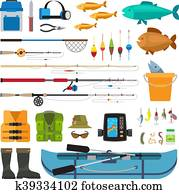 Fishing vector flat icons