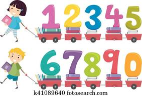 Stickman Kids Numbers Books Cart