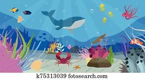 unterwasserwelt, welt, szene