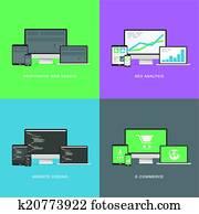 flache, webentwicklung, elektronisch, vec