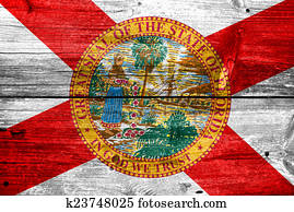 Florida State Flag painted on old wood plank texture