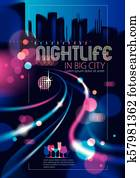 Light night at city, bokeh abstract background blurred lights
