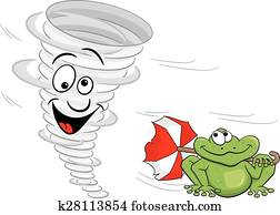 cartoon tornado with frog