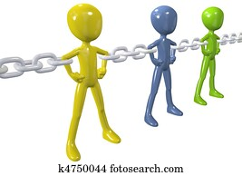 Diverse people unite in strong chain link group