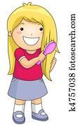Kid Brushing Hair