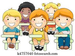 Kids Attending Class