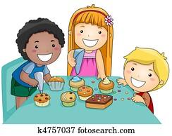 Kids Decorating Cupcakes