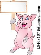 lustig, schwein, karikatur