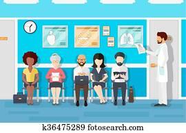 patienten, in, doktoren, warten, room., vektor, abbildung