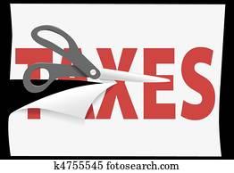 Tax cutting scissors cut TAXES on paper