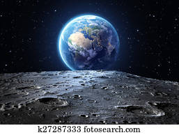 blue earth seen from the moon