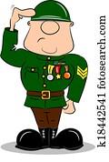 Cartoon Soldier Saluting